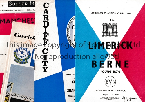 EUROPEAN FOOTBALL PROGRAMMES Five programmes: Cardiff v Shamrock Rovers 67/8 and Real Madrid 70/1,