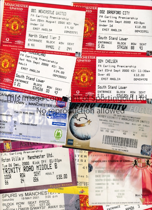 MANCHESTER UNITED Thirty home and away tickets for Championship season 2000/1. 24 homes including