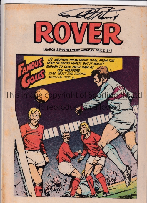 GEOFF HURST AUTOGRAPH Rover comic 8/3/1970 with a cartoon of Hurst scoring at Old Trafford v
