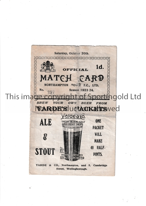 NORTHAMPTON TOWN V QUEEN'S PARK RANGERS 1923 Programme for the League match at Northampton 20/10/