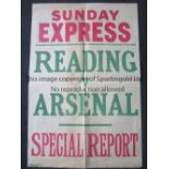 ARSENAL Large 75cm X 50 cm Sunday Express poster for the FA cup tie at Reading in 1935. Folded in