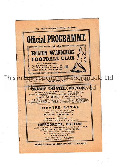 BOLTON Home programme v Manchester City 20/2/1937. Half times inserted in pencil. Light stain on