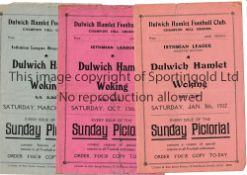 DULWICH HAMLET Three home programmes v. Woking 8/1/1927, 13/10/1928 minor tears and 22/3/1930. Minor