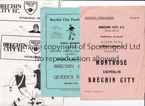BRECHIN CITY Twenty one Brechin Home programmes 1957/58-1980/81. Includes Brechin v Montrose (SC)