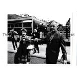 """BILL SHANKLY A reprinted 10"""" X 8"""" B/W photo of Shankly and his wife holding the FA Cup after"""