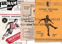LEEDS UNITED Four programmes: home v Hull City 18/3/1950, slightly creased and 3 aways in the 1952/3