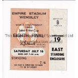 1966 WORLD CUP / TICKET England v Mexico 16/7/1966 standing ticket at Wembley. Good