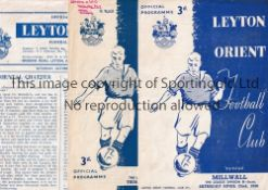LEYTON ORIENT V MILLWALL Three programmes for matches at Orient 49/50 scores entered, 50/1 writing