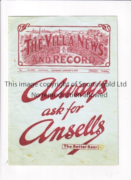 NEUTRAL AT ASTON VILLA 1932 / ASTON VILLA CHALLENGE CUP Programme for the match at Villa 9/1/1932,