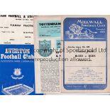 PUBLIC TRIAL PROGRAMMES Four programmes: Millwall 16/8/1958 punched holes, Tottenham Hotspur 14/8/