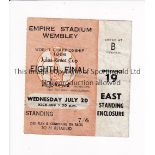 1966 WORLD CUP / TICKET England v France 20/7/1966 standing ticket at Wembley, creased. Fair to