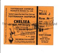 TOTTENHAM HOTSPUR V CHELSEA 1972 TICKET Complimentary seat ticket for the League Cup Semi-Final