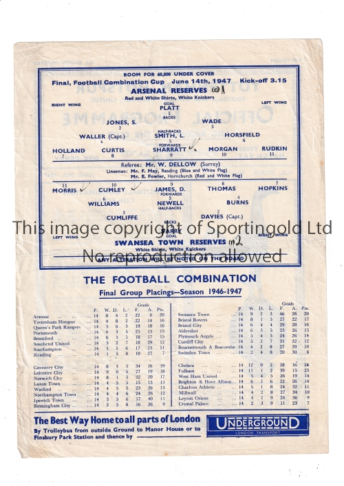 ARSENAL V SWANSEA TOWN AT TOTTENHAM 1947 Single sheet programme for the Combination Cup Final at