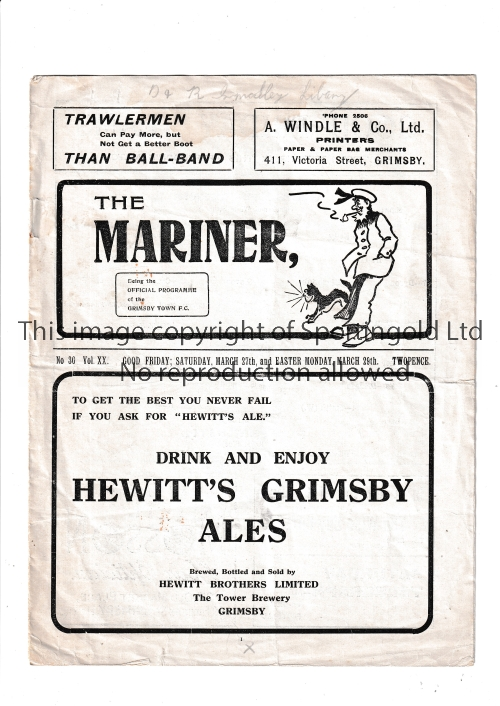 GRIMSBY Home programme v Portsmouth 26/3/1937 (Good Friday) and Derby County 27/3/1937. Also