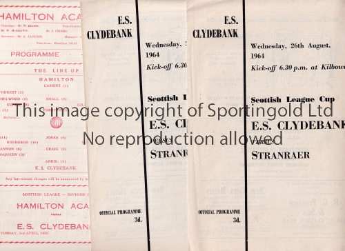 E.S. CLYDEBANK The newly formed East Stirlingshire Clydebank entered the League in season 1964/5.