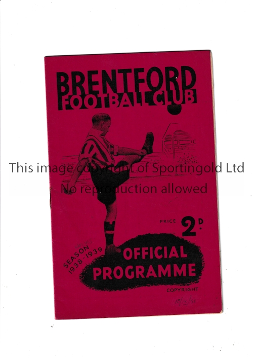BRENTFORD Home programme v Wolverhampton Wanderers 10/9/1938. Team changes in pencil. Generally
