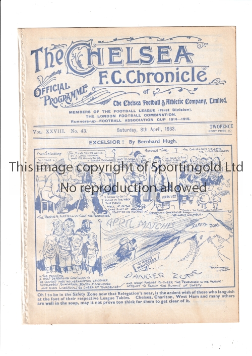CHELSEA Home programme v Leeds United 8/4/1933. Ex Bound Volume. Generally good