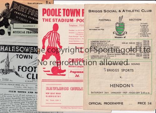 NON-LEAGUE FOOTBALL PROGRAMMES Twenty seven programmes from 1956 - 1961. 1956/7 X 10 inc. Briggs