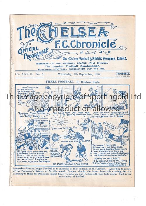 CHELSEA Home programme v Portsmouth 7/9/1932. Ex Bound Volume. Generally good