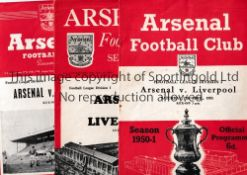ARSENAL V LIVERPOOL Three programmes for League matches at Arsenal 50/1, 51/2 and 52/3. Generally