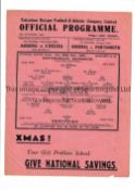 TOTTENHAM HOTSPUR Single sheet programme for the home FL South match v Brentford 25/12/1942,