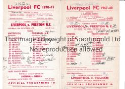LIVERPOOL RESERVES Two home single sheet programme for the Central League matches v. Preston 1967/