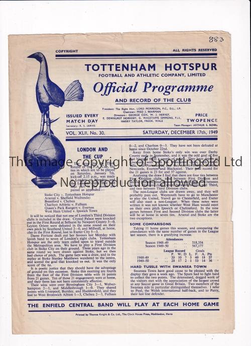 TOTTENHAM HOTSPUR Nineteen home programmes: 1949/50 v Brentford, Bury, Hull, Southampton, 1950/1 v