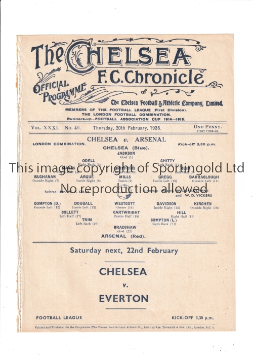 CHELSEA V ARSENAL 1936 Single sheet programme for the London Combination League match at Chelsea
