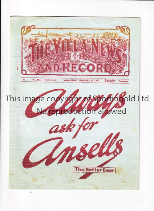 ASTON VILLA V SHEFFIELD WEDNESDAY 1932 Programme for the League match at Villa 24/2/1932, with