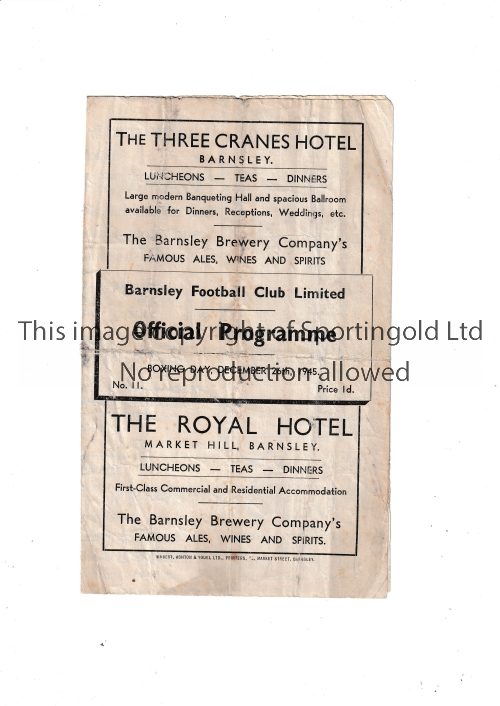 BARNSLEY V LIVERPOOL 1945 Four page programme for the FL North match at Barnsley 26/12/1945, heavily