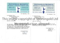TOTTENHAM HOTSPUR Two small typed Tottenham Hotspur headed letters dated 5/11/1954 and 7/9/56 to