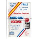 1956 EUROPEAN CUP FINAL Official programme, Real Madrid v Reims, 13/6/56, at Parc des Princes,