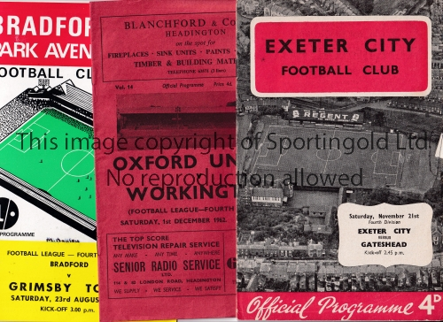 FIRST AND LAST SEASON FOOTBALL PROGRAMMES Approximately 90 homes and aways from the 1960's and