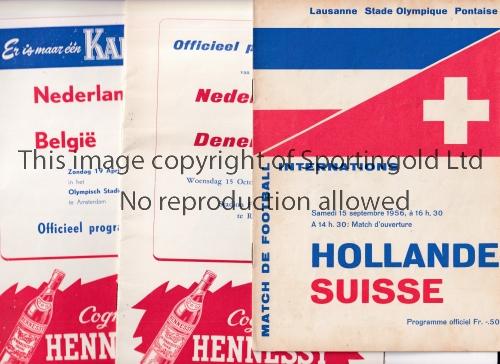 HOLLAND Three programmes: 2 homes v. Belgium 19/4/1959 and Denmark 15/10/1958 and away v.