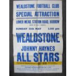 JOHNNY HAYNES Very large match poster for Wealdstone v Johnny Haynes All Stars 12/5/1968 at Lower
