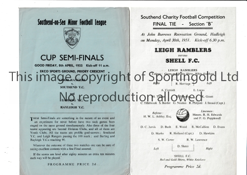 NEUTRAL MATCHES AT SOUTHEND UNITED FC Two programmes: Single sheet for the Southend Charity Final