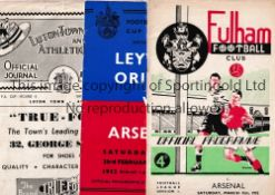 ARSENAL Three away programmes in 1951/2 season v Orient and Luton both FA Cp and Fulham, All