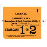 ARSENAL Home ticket v Cardiff City 23/8/1955, tiny paper loss bottom left on entry. Generally good