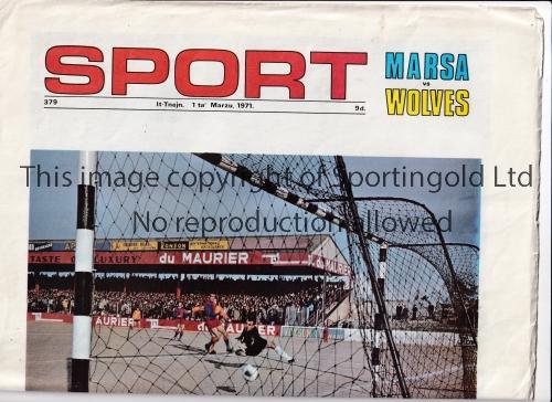 WOLVES Maltese Sport newspaper colour wrap 1/3/1971 for the away match v. Marsa. Good