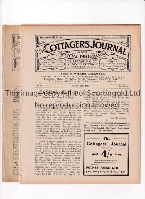 FULHAM Two Fulham home programmes v Bradford Park Avenue 21/10/1911 and Gillingham (South Eastern