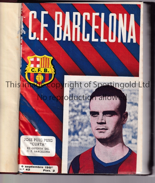 1955/56 FC BARCELONA Bound volume of official programmes (complete issues including outer covers).