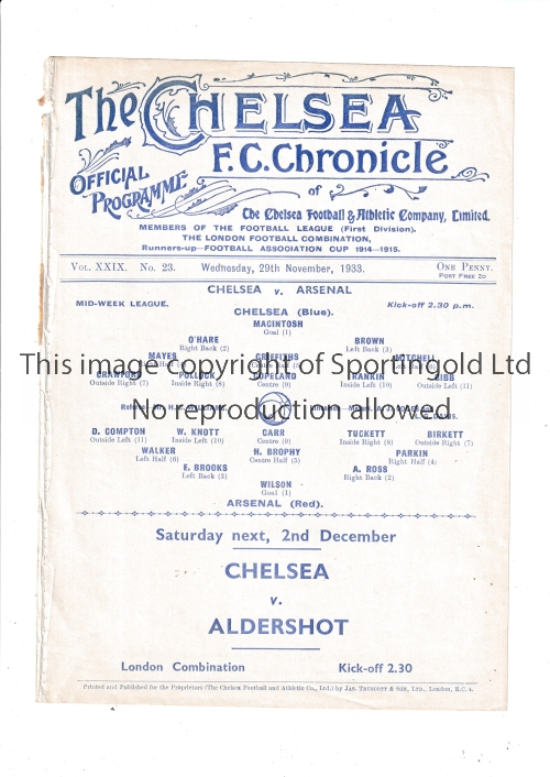 CHELSEA V ARSENAL 1933 Single sheet programme for the Mid-Week League match at Chelsea 29/11/1933,