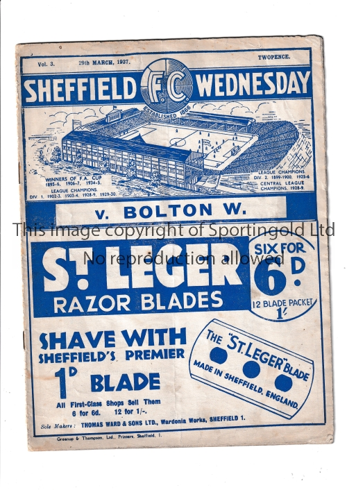 SHEFFIELD WEDNESDAY Home programme v Bolton Wanderers 29/3/1937. Not Ex Bound Volume. A little worn.