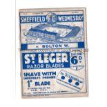 SHEFFIELD WEDNESDAY Home programme v Bolton Wanderers 29/3/1937. Not Ex Bound Volume. A little worn.