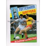 1987 FA CUP SEMI-FINAL / WATFORD & TOTTENHAM AUTOGRAPHS Programme signed on the cover by Chris