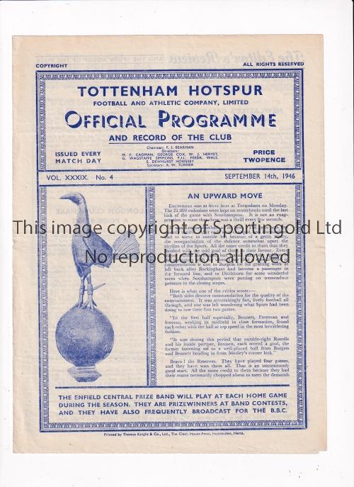 TOTTENHAM HOTSPUR Home programme v Newcastle Utd. 14/9/1946. Good