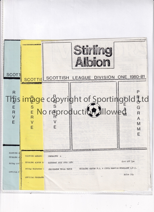 STIRLING ALBION Three home Reserve team programmes in season 1980/1 v. Civil Service Strollers, East