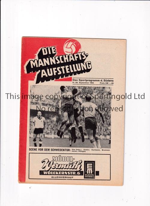 EVERTON Mannschaft programme for the away Fairs Cup tie v Nuremburg 28/9/1965. Good
