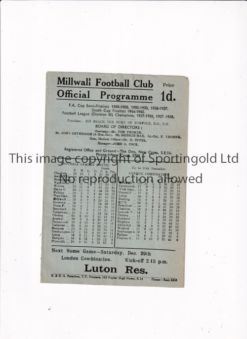 MILLWALL V CHELSEA 1945 Programme for the FL South match at Millwall 26/12/1945, very slightly