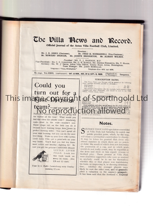 ASTON VILLA BOUND VOLUME 1935/6 Official bound volume of Villa News with hardback covers and gold